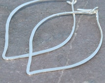Leaf Hoop Earrings, Hoops, Handcrafted Fine Silver Hoop Earrings, Leaf Shaped Earrings, Leaves, Light Weight Hoops by Maggie McMane Designs