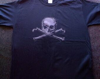 Jolly Roger Tshirt.  Metallic graphite on black.