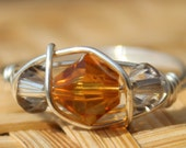 November Topaz Sterling Silver Birthstone Ring Sizes 4-11