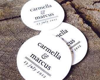 Simple Modern Wedding Favor Tags - Round Thank you tags - Circle Wedding Gift Tags -Bridal Shower Tags - Set of 50