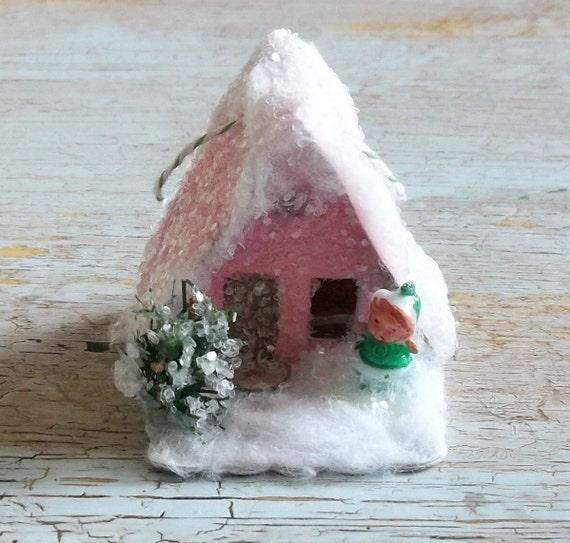 Vintage Putz Style Miniature Pink Retro Glitter Sugar House Shabby Christmas Village Ornament Pixie Santa  Bottle Brush Tree