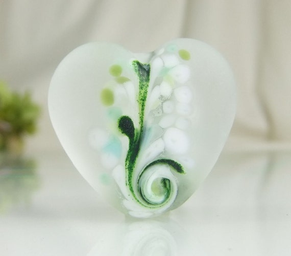 Etched Lampwork Heart Focal