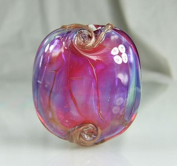 Magenta Pink /Blue Lampwork Lentil Focal