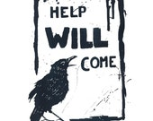 Reassuring Raven (blue on white) Original Screenprint.