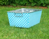 Galvanized Bin Rectangular Storage Tub Cotton Ocean Blue Ta Dot