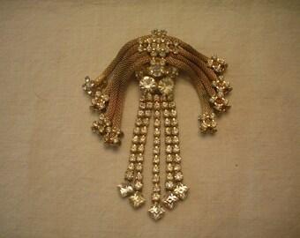 Vintage Glitzy Rhinestone Brooch Necklace Combo