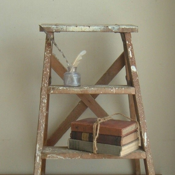 vintage wood step ladder by ImSoVintage on Etsy
