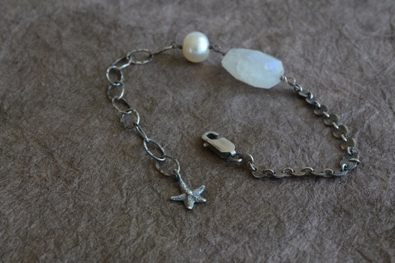 Moonstone & Pearl Starfish Charm Oxidized Sterling Silver Sequin Chain Bracelet