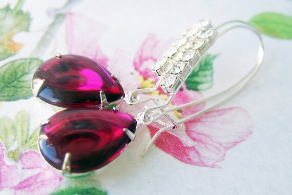 Fuschia Jewel Rhinestone Earrings, day evening wear, pretty everyday