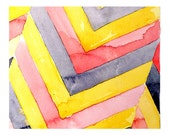 Art Original Watercolor Abstract Geometric Painting Home and Garden Dorm Fall Colors Dorm Men Women Kids Yellow Pink 7.5 x 10.5 Under 50