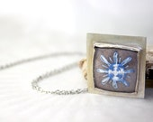 Sterling Silver Necklace Snowflake in blue Hand Embroidery