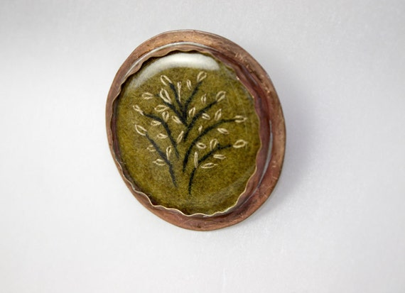 Brooch Copper Metal Flower Hand Embroidery More Wool Primitive Tree pin