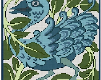 Antique Tile adaptation for cross stitch imaginary bird by de Morgan