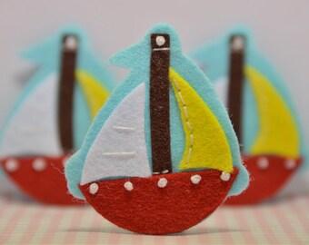 Set of 6pcs handmade felt boat--blue/devil red (FT944)