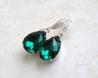 Emerald Green Earrings Foiled Pear Stone Rhinestone Silver Type A