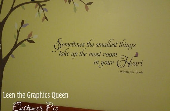 Winnie the Pooh quote Wall Decal - Sometimes the smallest things take up the most room in your heart - Butterfly Wall Decal - Nursery