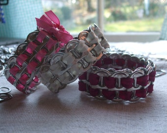 Bracelet Set of 3 Women's Cuff ExpandaBangle Tab Top Bangle Set of Three Free Key Chain