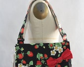 Messenger Bag Strawberries on Black Cross Body Bag Purse
