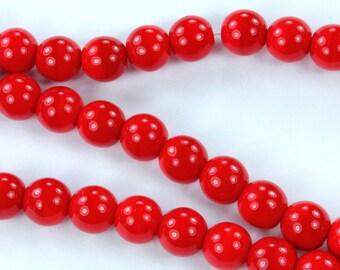 50 Czech Pressed Glass Round Druk Beads Opaque Red 6mm