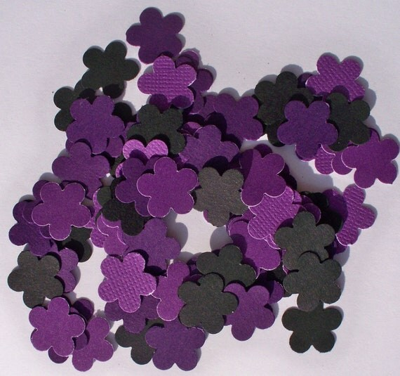 Hand Punched  Textured Flowers Die Cut Purple and Black