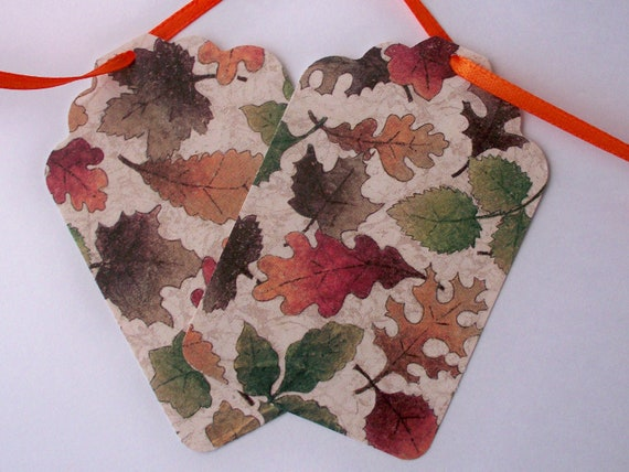 Gift Tag Fall Leaves Large Set of Six