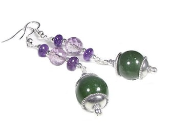 Nephrite Jade and Amethyst Earrings (Patchouli)  by Gonet Jewelry Design