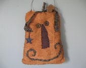 Primitive Pumpkin, Fall Chenille Pumpkin with wire leaf, star, button eyes - Grungy Smiling, Hanging Pumpkin Face