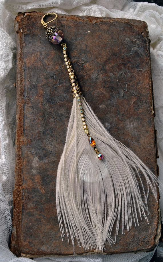 Single bleached Peacock feather earring, shoulder duster, extra long, with vintage peach and angelskin crystals and rhinestones