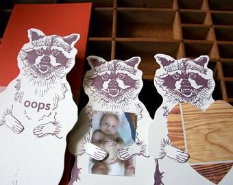 letterpress card raccoon die cut oops