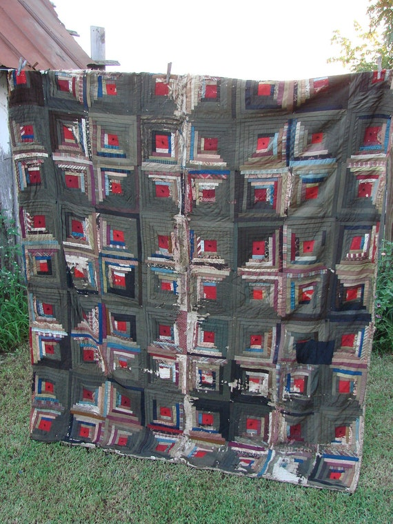 Vintage Well Loved Early Log Cabin Cutter Quilt Dark Colors