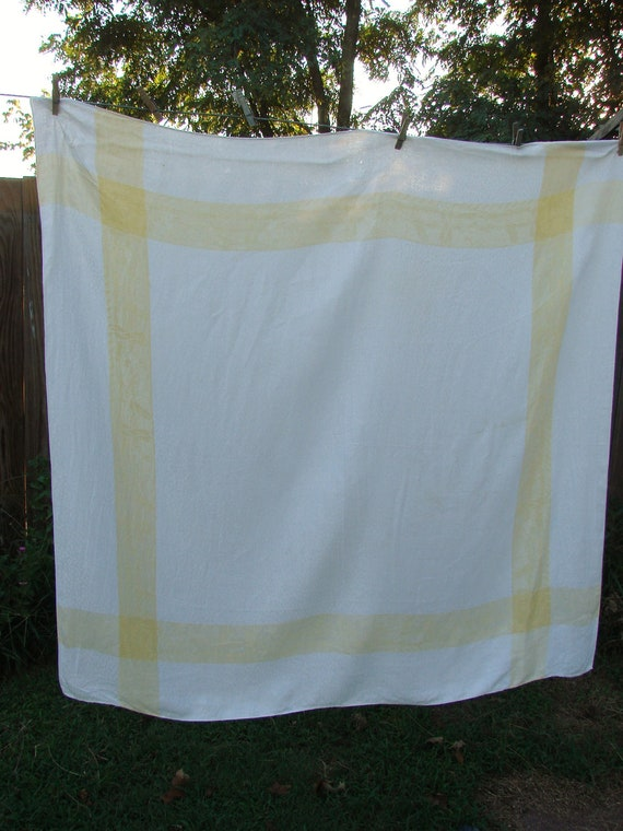 Vintage Butter Yellow and White Elegant Damask Tablecloth