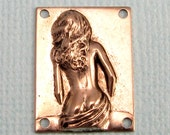 Small Rectangle Woman Stamping, Antique Pewter 2 Pc. K93