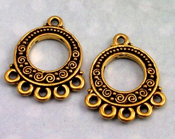 Spiral & Beads Chandelier Connector, Antique Gold, TierraCast Pewter 2-Pc. TG9