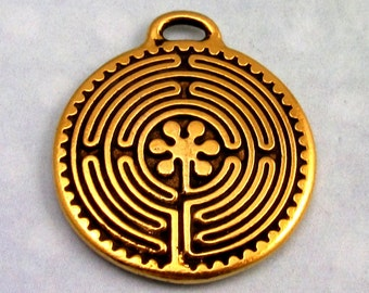Labyrinth Pendant, Antique Gold, TierraCast TG18