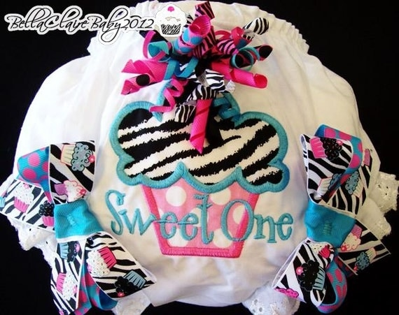 Zebra Cupcake Party Ready to Ship size 12-18 months monogrammed  diaper covers cupcake bloomers for baby girl toddler