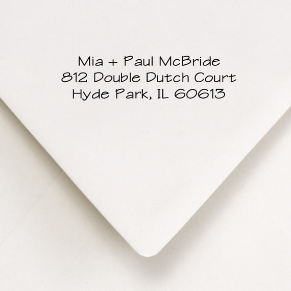 Custom Address Stamp - Mia and Paul - Wedding or Housewarming Gift, Thank You Notes