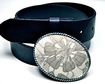 Belt Buckle Silver Grey Floral