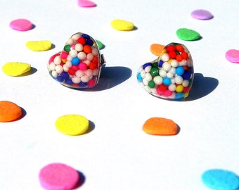 Candy Sprinkles Earrings, Rainbow Resin Hearts, Kawaii Studs