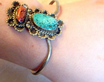 Vintage Navajo Turquoise Bracelet  - Sale - Charming And Unusual Native American Silver Bracelet With Large Turquoise and Coral