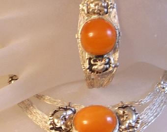 Amber Bracelet Necklace Set - Tibet Silver - Two Piece Set - Butterscotch - Dragon