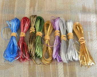 Lot of Rexlace boondoggle plastic lace gimp in HOLOGRAPHIC AND BRITELACE colors 90 yards total