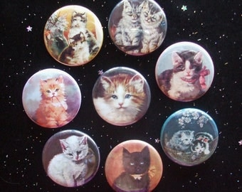 """Cute Kitty Cats 1.25"""" Magnets or Pinback Buttons - Set of 8"""