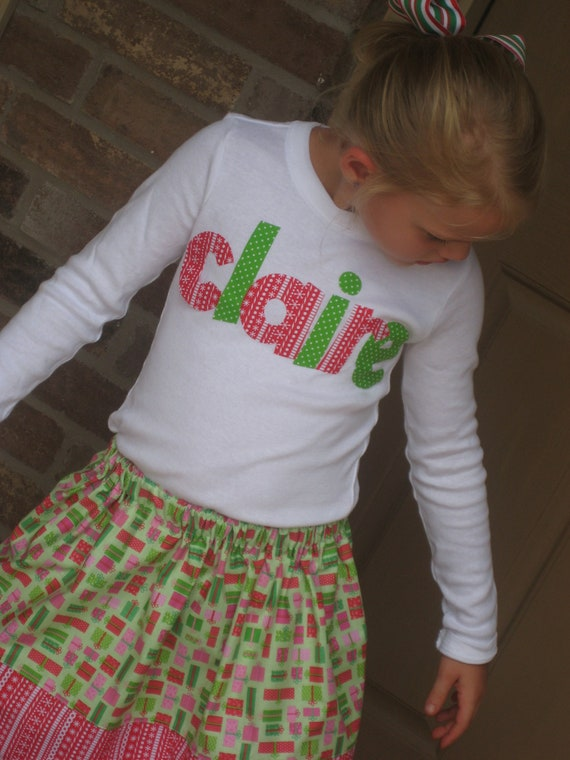 Custom Christmas Outfit.... Name Shirt and Skirt....Matching Brother Shirt also Available.....LAST ONE