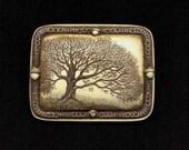Oak tree of life acorn scrimshaw technique reproduction pin