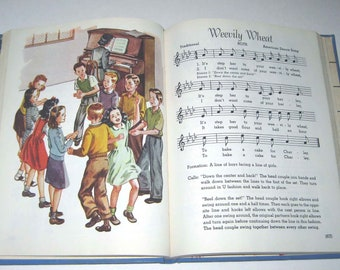 The American Singer Book 5 Vintage 1940s Children's School Song Book of Music Illustrated by Corinne Malvern