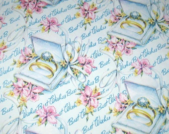 Vintage Wedding Wrapping Paper or Gift Wrap with Wedding Rings in Box Orchids and Ribbon