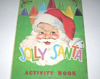 Jolly Santa Vintage 1970s Children's Activity Book Unused