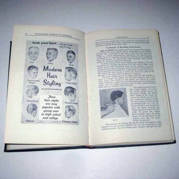 Vintage 1960s Standardized Textbook of Barbering with Embossed Cover