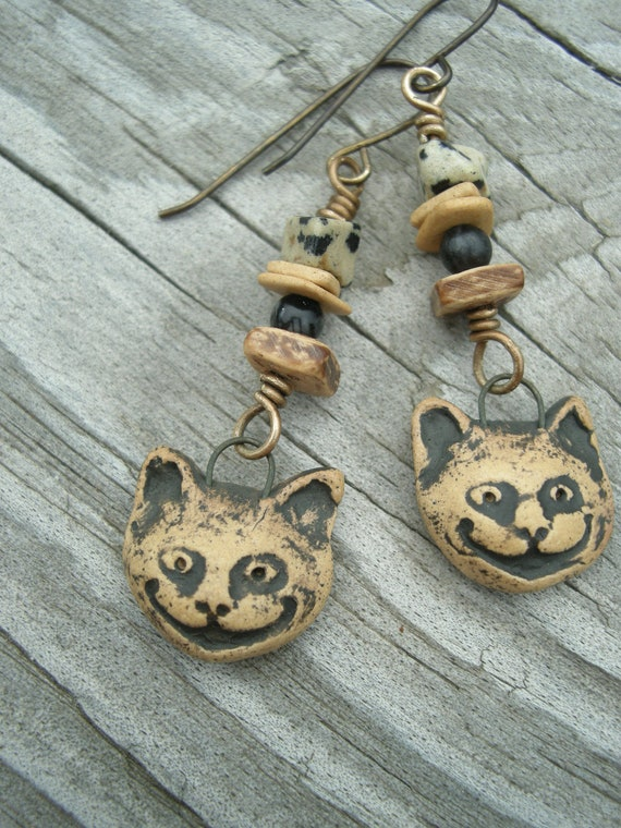 RESERVED Cheshire Cat ... Clay, Wood, Jasper and Brass Earrings