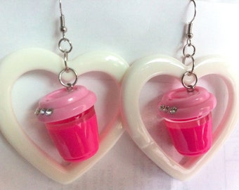 MILKSHAKE STRAWBERRY SHAKE pink vanilla white i heart love dessert miniature mini earring plastic acrylic resin